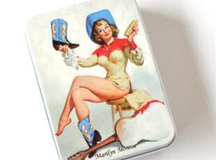 玛丽莲梦露复古半岛小铁盒收纳盒首饰盒卡片盒烟盒 可批发M03,铁盒,