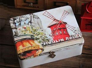 zakka特价 异国风情 荷兰风车铁盒 复古收纳锁盒 烤漆铁盒 礼品盒,铁盒,