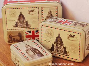 zaa杂啊 旅行系列-迷情伦敦 复古马口铁盒三件套 铁艺收纳盒 3只,铁盒,