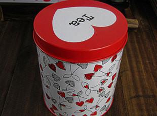 可爱桃心 铁盒糖果 饼干铁盒铁皮盒子马口铁盒 金属盒子圆形罐,铁盒,