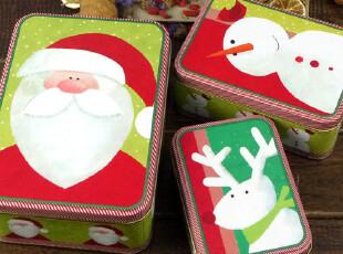 [圣诞主题]荧绿色调圣诞老人,2011年新款 套三方形铁盒,铁盒,