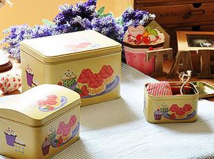 草莓蛋糕铁盒3件套 收纳盒 首饰盒 储物盒,铁盒,