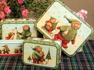 一套包邮 小熊马口铁收纳盒大中小套装 铁皮零食盒饼干盒铁盒,铁盒,