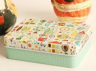 日系小清新铁盒 彩色名片盒卡片盒耳钉收纳盒创意烟盒,铁盒,