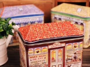 【特惠】欧式糖果屋 立体屋 小房子收纳盒桌面整理储物半岛小铁盒,铁盒,