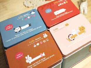 【懒得购】韩国文具 可爱新达达动物马口铁中号秘密收纳铁盒 4款,铁盒,