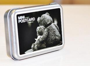 【50包邮】半岛铁盒 MINI POSTCARD LOMO风卡片组 54张入 爱情熊,铁盒,