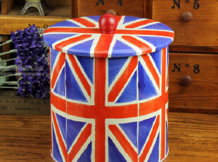英国国旗 饼干零食/杂物收纳 圆罐铁盒 米字旗,铁盒,