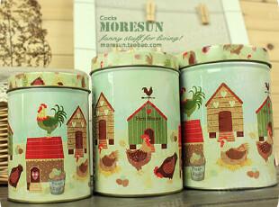 爱爆棚の小农场。铁盒 铁皮收纳罐 零食罐 茶叶罐 咖啡罐。三只套,铁盒,