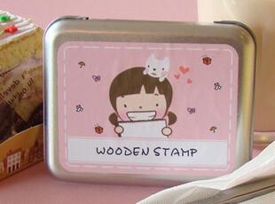 UMI韩国款创意文具*可爱日记 笔记本必备木制铁盒印章(粉色),铁盒,