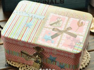 蝴蝶结小号锁盒 怀旧复古带锁|Zakka|铁盒|收纳盒|礼品盒|送小锁,铁盒,