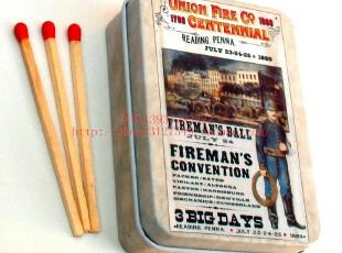 艺术火柴铁盒火柴小方盒烟盒火柴外国报纸火柴加长红头火柴梗,铁盒,