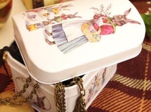 拱形盒盖 兔子图案复古铁皮盒 储物盒 首饰盒 收纳盒,铁盒,