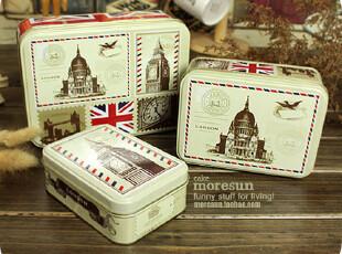 London,大城小爱。稚嫩色 铁盒 铁皮套盒 收纳盒。三只套,铁盒,