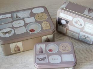 zakka 收纳铁盒 咖啡色套三长方形铁皮盒-邮票集蝴蝶大笨钟,铁盒,