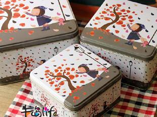 路灯下的小女孩 正方套三桌面收纳铁盒 糖果盒 礼品盒 首饰盒,铁盒,