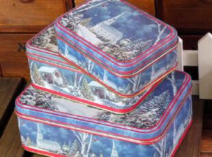 [圣诞主题]雪景套三方盒 铁罐铁盒 zakka收纳盒 礼品盒,铁盒,