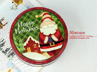 圣诞公公,格子控。铁皮盒 杂物 收纳盒 零食盒 糖果盒,铁盒,