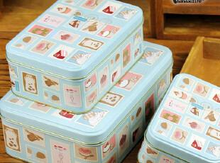 [欧洲糕点风套盒]淡蓝甜点 zakka 收纳铁盒 糖果盒 Set Of 3,铁盒,