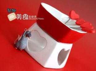 陶瓷火锅 巧克力火锅 大红釉心形巧克力炉 送4个水果叉,锅具,