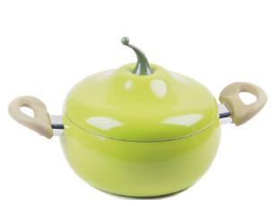 [凌柯生活]20cm厨房可爱梨型汤锅 无烟不粘带锅盖汤锅 电磁炉通用,锅具,
