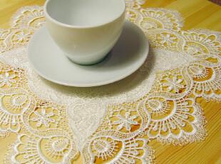 外贸欧式宫廷贡缎水溶花边布艺餐垫 茶几垫 桌垫 两色入 -107,隔热垫,