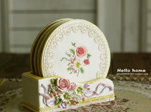 田园风家居必备 公主房装饰 树脂杯垫 餐垫 隔热垫 雕花彩绘工艺,隔热垫,