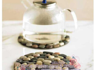 【Beach Stone】圆形雨花石杯垫/隔热垫/锅垫/碗垫/装饰-彩色,隔热垫,