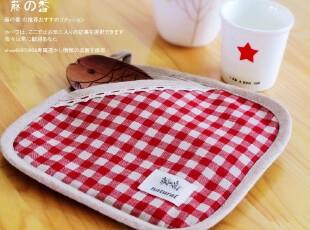 日单蕾丝苏格子棉麻隔热手套 餐垫两用 杯垫 锅垫 隔热垫,隔热垫,