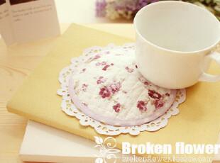 热卖小物! 绗缝田园风紫小花杯垫餐垫花盆垫隔热垫锅垫11.5cm,隔热垫,