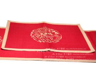 米子家居 中式古典餐桌装饰品 时尚喜庆红婚庆用高档龙凤餐垫,隔热垫,
