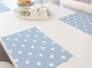 【吉屋】左右爱蓝 双层印花餐垫 桌垫 盘垫,隔热垫,