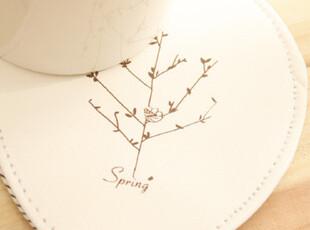 春夏秋冬 杯垫 pu皮棉布 四色可选,隔热垫,