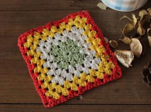Fan's zakka杂货 棉麻品。多彩缤纷手工钩花杯垫 装饰垫(红黄色),隔热垫,