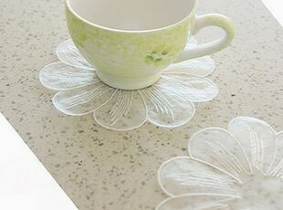 韩国正品代购 可爱精致花瓣蕾丝杯垫/餐垫 碗垫 4片装,隔热垫,