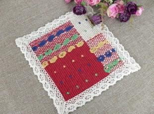 外贸布艺手工编织花边方形纯棉防滑垫杯垫碗垫餐垫隔热垫多色,隔热垫,