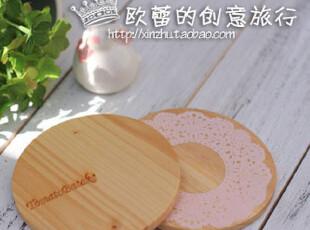 复古蕾丝花边杯垫/原木杯垫/圆形木杯垫/茶杯垫拍摄道具zakka杂货,隔热垫,