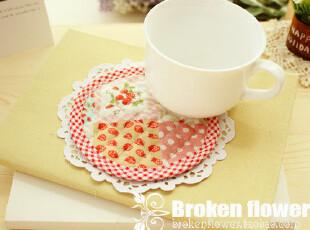 美丽说推荐绗缝田园风草莓小方格杯垫餐垫花盆垫隔热垫锅垫11.5cm,隔热垫,