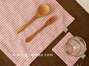 WANG【天生饭人】 棉麻餐垫 杯垫 2件套  条纹 红色,隔热垫,