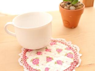 美丽说推荐绗缝田园风桃粉玫瑰杯垫餐垫花盆垫隔热垫锅垫11.5cm,隔热垫,