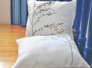 原创 手绘布艺(素雅之风)抱枕套/靠垫套 亚麻 棉麻,靠垫,