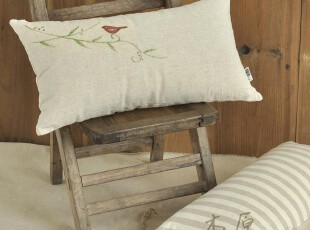 原创 亚麻 手绘布艺抱枕/腰枕 靠枕/汽车靠垫 两用 田园 特价含芯,靠垫,