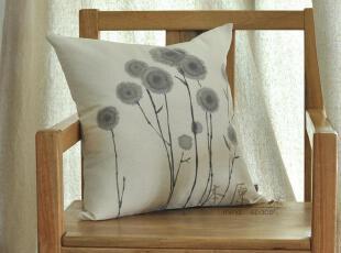 原创新品 亚麻手绘(蒲公英)抱枕套 靠枕套 靠垫套,靠垫,