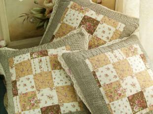 芮诗凯诗夏花系列 田园棉麻手工扎染 抱枕套 抱枕 不含枕芯,靠垫,