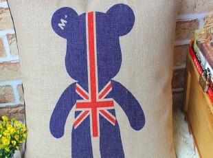 外贸宜家 英国米字国旗创意暴力熊抱枕汽车垫 靠垫 抱枕 含芯,靠垫,