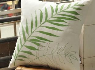 原创 手绘 布艺(棕榈风情)亚麻抱枕套 靠枕套 靠垫,靠垫,