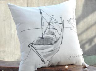 原创 新品 手绘(远航)亚麻布艺 抱枕套 靠枕套 靠垫,靠垫,