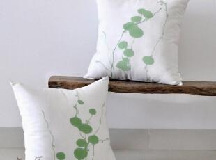 原创 手绘亚麻(铜钱草)抱枕套 靠枕套 靠垫 时尚 田园,靠垫,