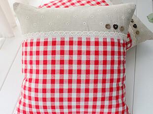 朝阳公主系列红格抱枕 靠垫 棉麻布艺靠枕套(含芯) 43*43,靠垫,