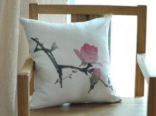 原创 手工 手绘(紫玉兰)花卉 亚麻抱枕套 靠垫套 靠枕套,靠垫,